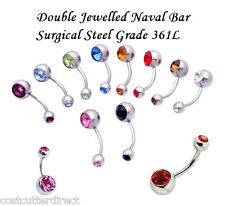 Double Jewelled Belly Bar Navel Body Jewellery, CZ and Surgical Steel