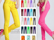 Womens Stretch Candy Pencil Pants Casual Slim Fit Skinny Jeans Trousers 24 Color