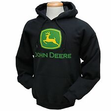 John Deere Black Hoodie with Screened Logo Men's Size JD03239