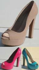 "NINE WEST ""VISHELLE"" LADIES WOMEN'S  PATENT PLATFORM PEEP TOE PUMP 5.5 inch HEEL"