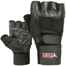Weight Lifting Gloves Cowhide Leather Fitness Glove Gym Training Exercise Black