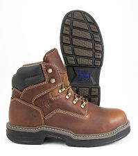WOLVERINE  RAIDER MULTISHOX BROWN LEATHER WORK BOOT STEEL TOE NIB