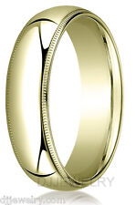 14K Yellow Gold Wedding Band Ring 6mm S5-5.75 Milgrain Comfort Fit 1.5mm Thick