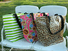 NEW OilCloth Large Zippered Tote Pool Travel Beach Grocery Diaper Bag 13 Designs