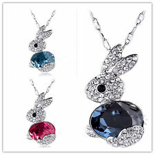 Cute bunny rabbit charm necklace with crystal multiple choices