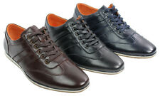 Mens Leather Look Smart Casual Trainers Retro Black Blue Brown Retro Laced