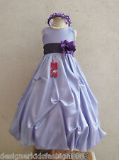 LILAC RED DARK PINK PURPLE PAGEANT PARTY GOWN FLOWER GIRL DRESS 2 4 6 8 10 12 14