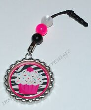 Cute Dangling Bottle Cap Charm & Beads Dust Plug for any Smart Cell Phone IPhone