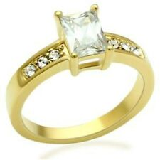 Emerald cut Clear CZ Gold Ion Plating Wedding/Engagement Ring SIZE 5,6,7,8,9,10