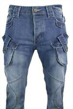 Mens Blue Washed Military Combat Funky Pocket Jeans Straight Cut Smart Casual