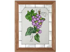 Grapes Fruit & Wine Framed 13.5x16.5 Hand Painted Stained Art Glass Suncatcher