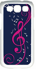 Navy Blue and Pink Treble Clef Music Note Design on Samsung Galaxy S3 Case Cover