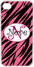 Curlz Monogrammed Pink and Black Zebra Design on iPhone 4 4s Case Cover