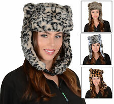 Ladies Animal Print Faux Fur Trapper Hat With Ear Flaps & Furry Pom Pom Ears
