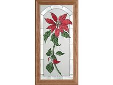 Christmas Holiday 11.5x22.5 Hand Painted Stained Art Glass Window Suncatcher