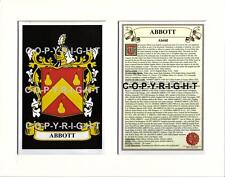Heraldic COAT OF ARMS Crest Mount + Family History - ABBOT to ARDEN