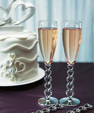 Stacked Hearts Silver Plated Custom Wedding Toasting Flutes Champagne Glasses