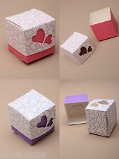 PACK OF FLAT PACKED SMALL HEART GIFT BOXES (PACK HAS 50 BOXES) : CHOOSE COLOUR