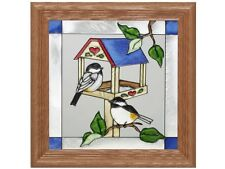Birds 13x13 Hand Painted Stained Art Glass Window Suncatcher By Silver Creek