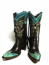 Chocolate & Turquoise ~Womens Lucchese Calf Leather Boots M5022 (Tassel-Fringe)
