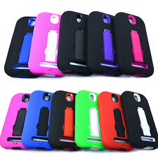 For HTC One SV Cover Hybrid Kickstand Double Layer Cell Phone Accessory Case