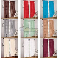 """54"""" x 84"""" Solid Rod Soft Sheer Voile Window Panels Curtains Brand New Curtains"""