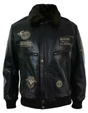 Mens Real Leather Jacket Bomber Aviator Style Badge Design Brown