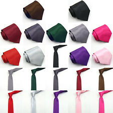 11 Colours 2 Sizes New Men/Boy Plain Solid Quality Necktie Tie Formal/Party UK