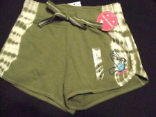 JUSTICE 6 7 8 10  SPORTS SHORTS ARMY GREEN WITH PEACE DOVE NWT $18.