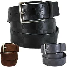 Checkerboard Embossed Leather Dress Belt Checker Classic Designer Unisex Mens