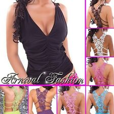 NEW SEXY WOMENS SLEEVELESS LACE TOP BLOUSE sz 6 8 10 LADIES CLUB PARTY SHIRT S M