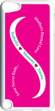 Fuchsia Pink & White Mother's Love Two Teal Names iPod Touch 5th Gen 5G TPU Case
