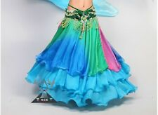 Belly Dance Gradient Silk-like Skirt Costume Three layers Flamenco Skirt 8 color
