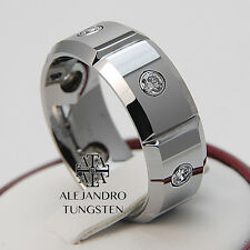 Alejandro Tungsten Carbide Ring Luxury 6 Simulated Diamond Wedding Band TG050