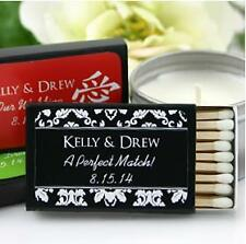 100 Personalized Damask Wedding Supplies Matches Match Boxes Party Favors Black