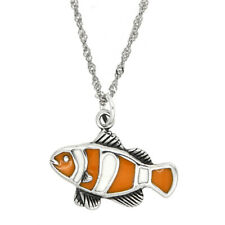 STERLING SILVER TROPICAL ENAMEL CLOWN FISH WITH THIN SINGAPORE NECKLACE