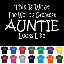 Worlds Greatest AUNTIE Funny Mothers Day Birthday Christmas Aunt Gift T Shirt