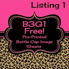 "Pre-Printed Uncut One Inch Bottle Cap Image Sheet 1"" x 15 Images NOT Precut Look"