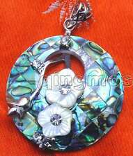 """Big 40mm Round natural Multicolor Abalone Shell Pendant 18"""" leather necklace-226"""