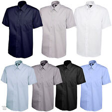 New Mens Pinpoint Oxford Short Sleeve Formal Shirt for Work Office