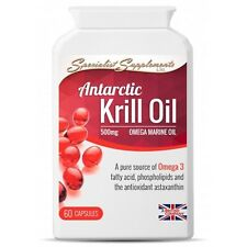 Antarctic Krill Oil 500mg - Omega 3 Fish Oils with Antioxidants - Adult Health