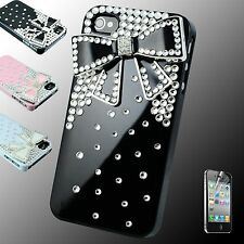 Girl 's Cute 3D Ribbon Pink Black Bling Diamond Crystal Case Cover iPhone 4 4s