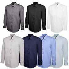 New Mens Pinpoint Oxford Long Sleeve Formal Shirt for Work Office Business