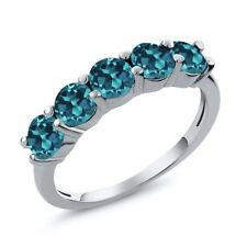 1.00 Ct Round Natural London Blue VS Topaz 925 Sterling Silver Wedding Band Ring