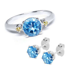 1.00 Ct Blue Topaz & Canary Diamond 925 Sterling Silver Ring