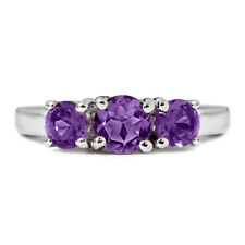 1.30 Ct 3-Stone Amethyst Ring in 925 Silver