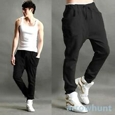 Mens Korean Sports Baggy Trousers Harem Pants Rope Waistband Slacks Sweatpants
