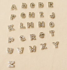 Silver CRYSTAL LETTER Floating Charm Alphabet for Glass Floating Lockets
