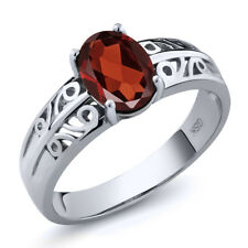 1.40 Ct Stunning 8x6mm Oval Red Garnet 925 Sterling Silver Ring