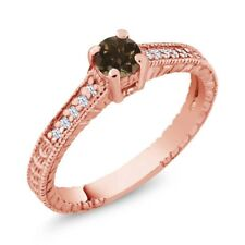 0.36 Ct Round Brown Smoky Quartz White Topaz 925 Rose Gold Plated Silver Ring